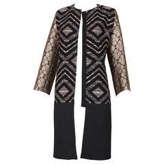 Giambattista Valli Black & Gold Brocade Patchwork Coat