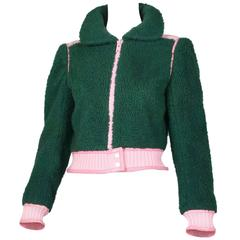 1970's Courreges Green Shearling Jacket W/Pink Leather & Knit Trim