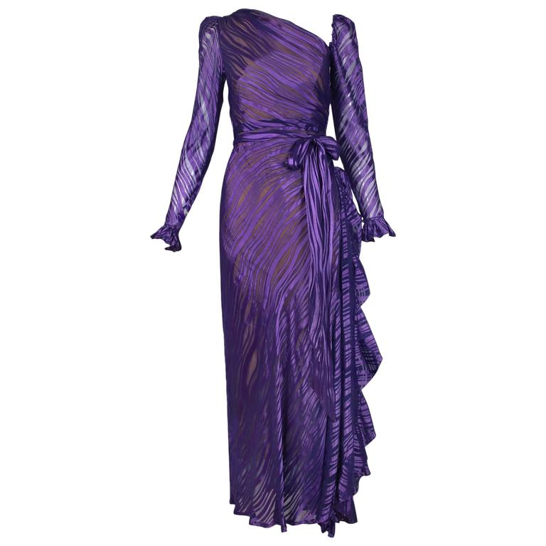 1970's Yves Saint Laurent YSL Royal Purple Sheer Silk Damask Gown 1