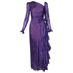 1970's Yves Saint Laurent YSL Royal Purple Sheer Silk Damask Gown