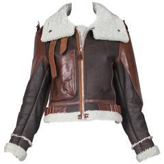 "Balenciaga Cropped Leather ""Palma Aviator Jacket"" w/Shearling Interior & Trim"