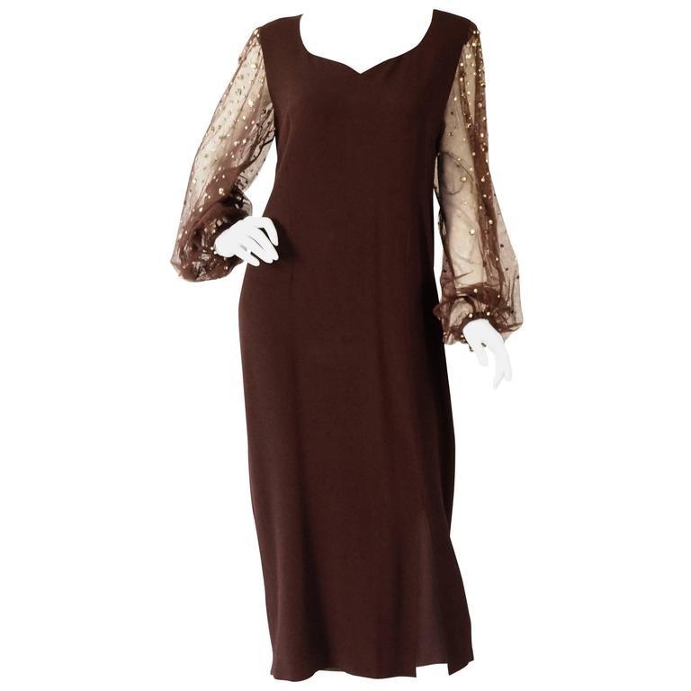 1970s Chocolate Brown Pauline Trigere Dress