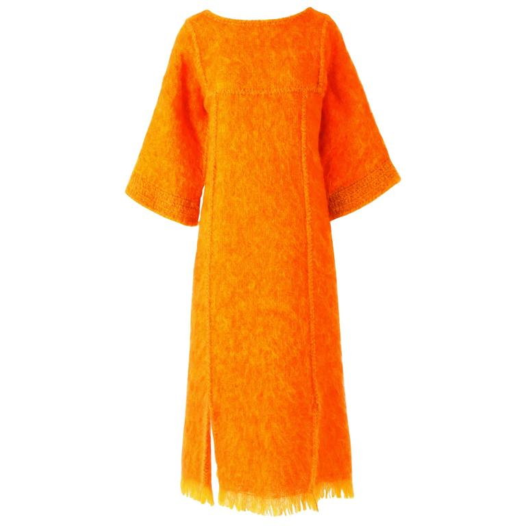 Jacque d'Aubres Hand Made Mohair Caftan Dress in Tangerine