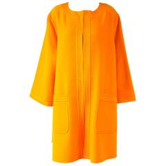 Vintage Valentino Tangerine/Orange Wool Cocoon Mod Coat