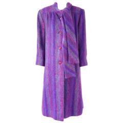 1980s Purple Mohair Coat Jacket