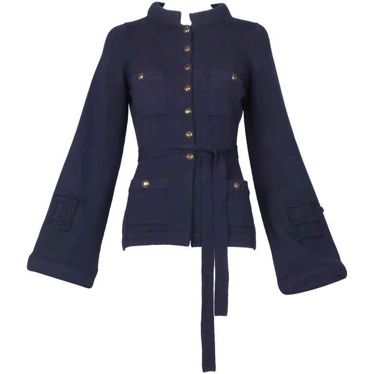 2010 Chanel Navy Cashmere Cardigan W/Bell Sleeves, Waist Tie & Metal Buttons 1