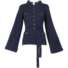2010 Chanel Navy Cashmere Cardigan W/Bell Sleeves, Waist Tie & Metal Buttons