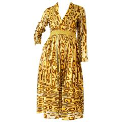 1970s Gold Leopard Print and Stripes Dress