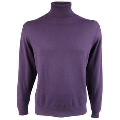Men's RALPH LAUREN Purple Label Size XL Eggplant Cashmere Turtleneck Sweater