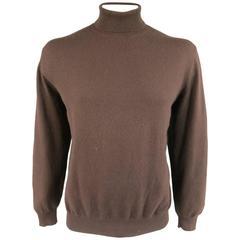 RALPH LAUREN Purple Label Size XL Chocolate Brown Cashmere Turtleneck Sweater