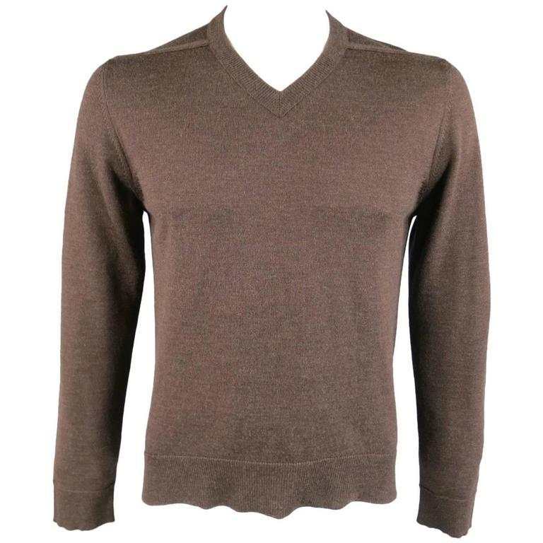 MAISON MARTIN MARGIELA L Brown Heather Wool V Neck Back Stitch Pullover Sweater 1