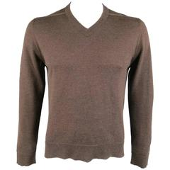 Maison Martin Margiela Brown Heather Wool V Neck Back Stitch Pullover Sweater, L