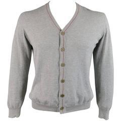 BRUNELLO CUCINELLI Size S Light Gray Cotton Red Striped Trim Cardigan