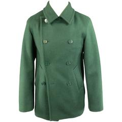 AGNES B. 36 Forest Green Wool Double Breasted Peacoat