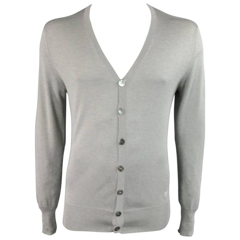 Alexander McQueen Size L Gray Silk / Cashmere Skull Embroidered Cardigan For Sale