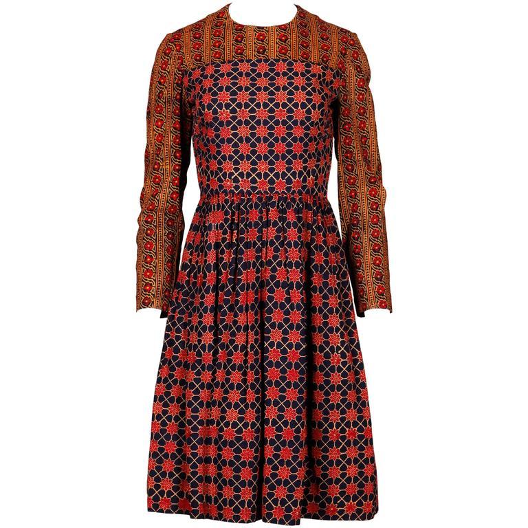 Lanvin Vintage 1970s Cotton Batik India Print Dress with Long Sleeves