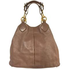 Gucci Oversize Taupe Smooth Leather Tote With Double Brass Horse Bit Handles