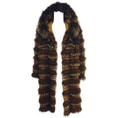 Carmen Marc Valvo Mink & Feathered Fox Corduroy Coat W Fox Trimmed Hood
