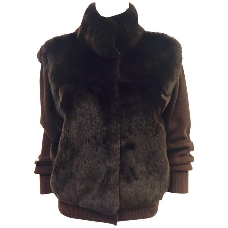 Neiman Marcus Cashmere Chocolate Cardigan/Sheared Beaver Front