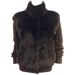 Neiman Marcus Cashmere Chocolate Cardigan/Sheared Beaver Front
