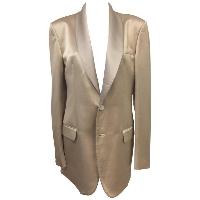 Men's Versace Champagne Cotton Wool & Silk Blend Dinner Jacket w Shawl Collar  For Sale