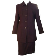 Classic A.K.R.I.S Wool Eggplant Skirt Suit (14 US)