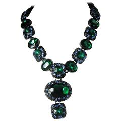 Vintage Green Rhinestone Necklace