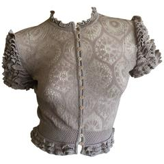 John Galliano for Bergdorf Goodman 1994 Lace Top with Ruffle Cap Sleeves