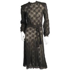 Late 1930's Austrian Lacey Hand Knit Black Dress