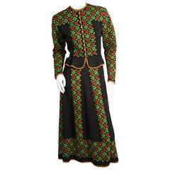 Charming Austrian Hand Knit Red Green and Black Sweater and Skirt Set