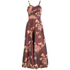 1950's Burgundy Silk Taffeta Evening Dress Custom Made
