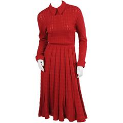 1940's Austrian Hand Knit Claret Wool Dress