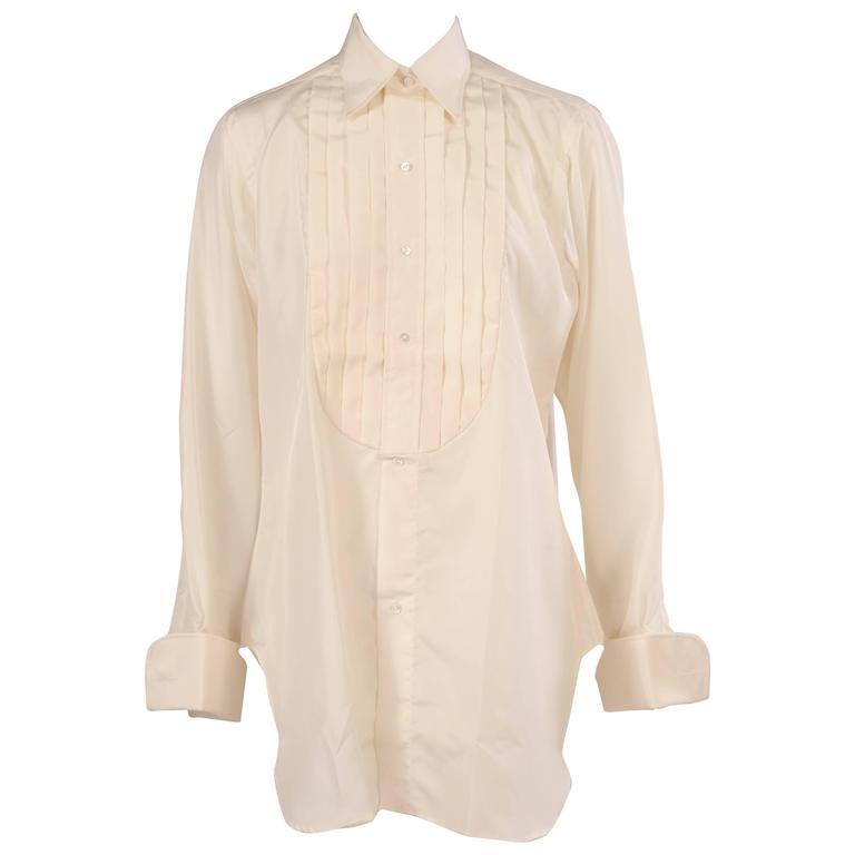 Vintage savile row custom silk tuxedo shirt never worn for for Tuxedo shirt vs dress shirt