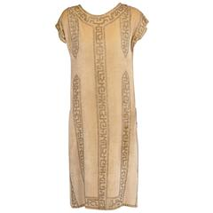 1920's Rue de la Paix French Beaded Velvet Flapper Dress