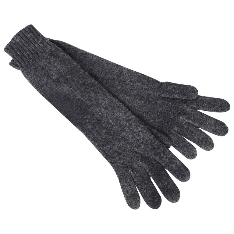 Hermes Ladies Cashmere Wool Gloves Gris Charcoal Gray Size 00 One Size  For Sale