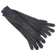 Hermes Ladies Cashmere Wool Gloves Gris Charcoal Gray Size 00 One Size