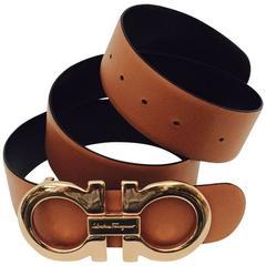 Ferragamo Oversized Double Gancio Buckle on Reversible Belt