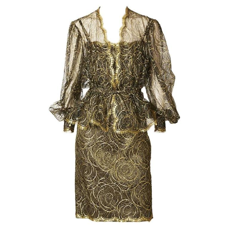 Pauline Trigere Gold Lace Jacket and Dress Cocktail Ensemble 1