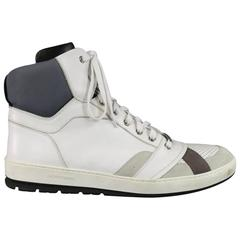 Dior Homme Men's Size 12 White and Gray Leather High Top Sneakers