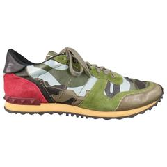 Men's VALENTINO Size 12 Mixed Media Camouflage Leather & Suede Rockstud Trainers