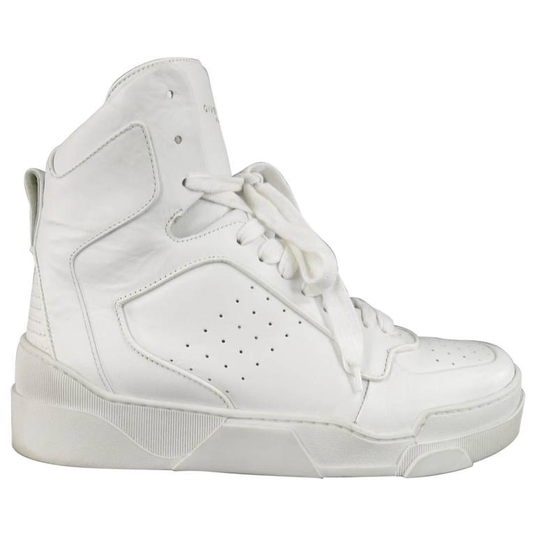 Men s GIVENCHY Size 8 White Leather TYSON II High Top Sneakers For Sale 9edd359f9