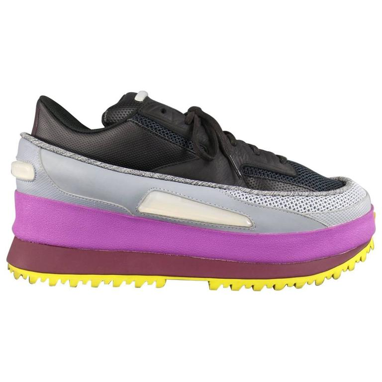 RAF SIMONS X ADIDAS Size 11 Black Gray Purple and Yellow Platform Sneakers  at 1stdibs ac3327a2f