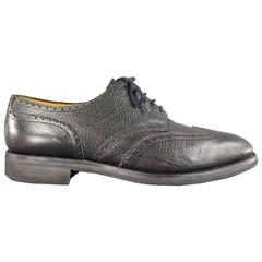 John Lobb Darby Black Matte Pebbled Leather Lace Up Brogues, Size 10.5