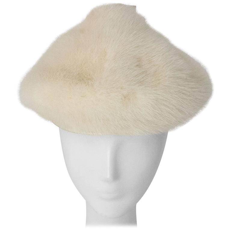 50s White Mink Cone Hat For Sale