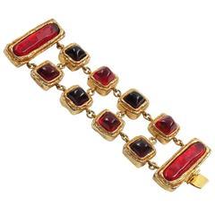 Dominique Denaive Paris Signed Vintage 1980s Jeweled Bracelet Red Cabochons