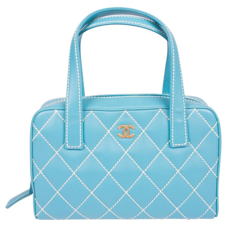 5b5b6d776290 Chanel Wild Stitch Quilted Zip Tote Bag - blue leather at 1stdibs
