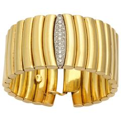 Modernist Diamond and Gold Cuff Bracelet