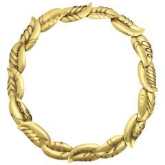 artisan made gold leaf form choker