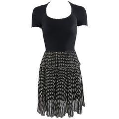 Alexander McQueen Black Ribbed Stretch Knit Peplum Dress