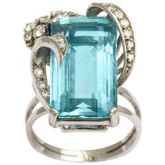 H. Stern Emerald Cut Aquamarine with Diamonds on a Platinum Ring